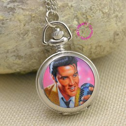 Wholesale Elvis Presley For Women Ladies Gril Pocket Watch Necklace ladies girl fob watches silver antibrittle Fashion rock roll