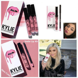 Wholesale KYLIE JENNER Smile TRAIN LIP KIT Kylie smile color Matte Liquid Lipstick Lip Liner Kylie lip Velvetine in Red Velvet Makeup serial number