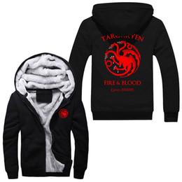 Wholesale Differ Game Of Thrones House Of Targaryen Graphic Super Warm Thicken Fleece Zip Up Hoodie Men s Coat Sweatshirt