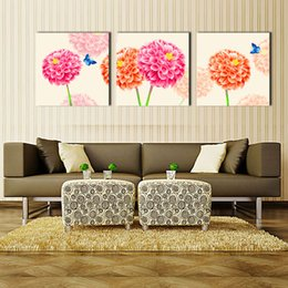 Wholesale 3 Panel Large Modern Flower and Butterfly Canvas Painting Cuadros Wall Picture For Living Room High Definition Printing