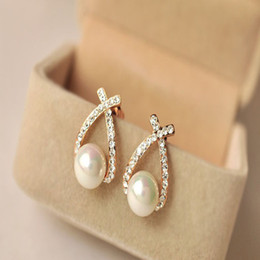 Fashion Personality Rhinestone Gold Crystal Stud Earrings Brincos Perle Pendientes Bou Imitation Pearl Earrings For Woman & Girl