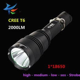 Wholesale High Power LED Torches CREE T6 Lumen Switch Mode LED Flashlights torch light battery Aviation Material lasting life