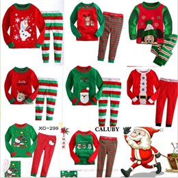Wholesale Cotton Red Pajamas For Kids - 2016 New Kids Christmas 2PCS Suits 15 Styles Boys Girls Christmas Santa Pajamas Set Pyjamas Kids Spring Autumn Sleep Clothing Set for 2-7T