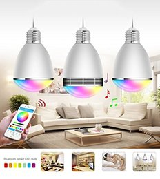 Wholesale 2016 NEW HOT SALE BL06G fashion Group Bluetooth4 Smart LED bulbs Speaker lights BL G with IOS and Android system