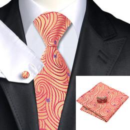Men's Orange Yellow Tie Cufflinks Hanky Classic Formal Stylish Wedding Necktie Jacquard Woven New Arrival Tie for Men N-1134