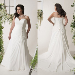 Most Popular Fashion A Line Sweetheart Chapel Train White Ivory Chiffon Beach Wedding Dresses With Appliques Pleated Plus Size Wedding Gowns