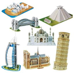 Wholesale Scale Paper Miniature Model Eiffel Tower Bridge Great Wall Leaning Tower d Puzzle for Children World Great Architecture