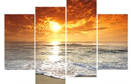 Wholesale Large Fashion Painting - LK468 4 Panels Large Sunset Beach Living Room Canvas Wall Art Pictures Prints Printing Decoration Unframed Natural Landscape Oil Painting Fa