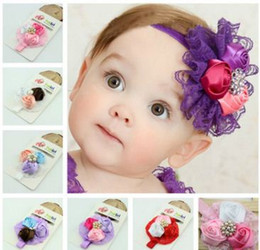 Baby Girls Kids headband silk Flowers lace Hair Accessories Lovely Roses Pearls Hair Bands Pretty Headbands Infant Headbands 6 styles