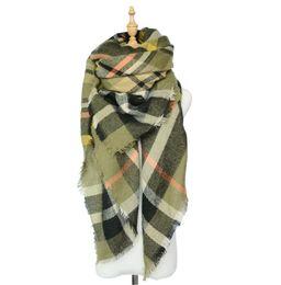 Wholesale Za Winter luxury Brand Plaid Cashmere Scarf Women Oversized Blanket Scarf Wrap long Wool Scarf Women Pashmina Shawls and Scarves