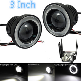 Wholesale a pair of quot Car COB LED Fog Light Projector White Angel Eye Halo Ring DRL Driving Bulbs CLT_30C