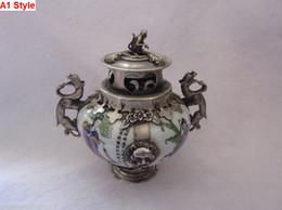Old Porcelain & Tibet Silver Hand Painted Incense Burner & Monkeys Lid
