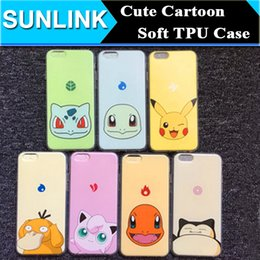 Wholesale Cute Cartoon Poke Mon Go Pikachu Snorlax Squirtle Psyduck Bulbasaur Case Pocket Game Anime Soft TPU Cover for iPhone s Plus