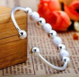 Wholesale Transport Beads Bracelet Sterling Silver Bangles Woman Charm Bracelets Hand Jewelry Gift Open Cuff Bangle