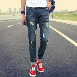 Wholesale-2016 New Fashion Mens Ripped Jeans Famous Brand Skinny Jeans Men High Quality Ripped Jeans For Men Oversized Male Jeans Pants