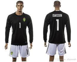 Wholesale Sweden EURO CUP european national team long sleeve soccer jersey uniform kit goal keeper men kits jerseys goalie uniforms with shorts