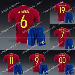 Wholesale spain home red jersey with shorts spain soccer uniform Sergio Ramos pique Xavi alba Iniesta Fernando Torres david silva