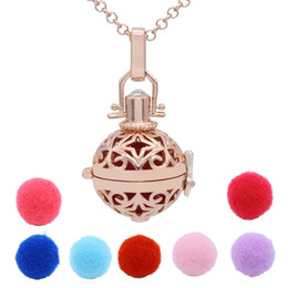 Wholesale Rose Gold Star Hollow Cage Box Locket Perfume Essential Oil Aromatherapy Diffuser Pendant Necklace Release Cotton Balls Jewelry
