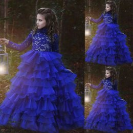 2019 Fall Tiered Flower Girl Dresses Floor Length Long Sleeves Royal Blue First Communion Dresses Lace Girls Birthday Formal Pageant Dress