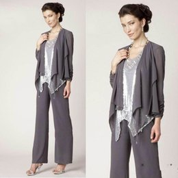 Wholesale Cheap Purple Coats - 2016 Modest gray Three Pieces Mother of the Bride Suits With Pants Cheap Chiffon Formal Gowns With Coat For Wedding party