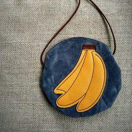 Wholesale Child Kids Girl Fruit Banana Faux Suede Bags PU Leather Handbag Messenger Shoulder Bag Cross Body Pocket Satchel Circular Handbags B6838
