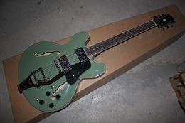 Free shipping Semi Hollow mahogany Body Maple Top Tremolo Jazz Electric Guitar