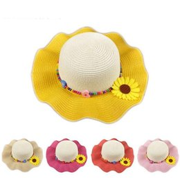 2016 Fashion Straw Hats Baby Girl Summer Flower Cap Handmade Bead Beach Hats Children Face Sun Visor Cap Foldable hat