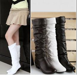 2016 Automne / Hiver Nouvelles femmes seule bottes de coton fourrure chevalier en cuir bottes étudiants longs bottes talons plats bottes genou-haute bottes bottes de neige à partir de longue en cuir femmes boot fabricateur