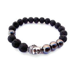 SN0562 Mens Buddha bracelet Lava Stone Hematite bracelet Mens bracelet with lava Natural Stone Bracelet Wholesale