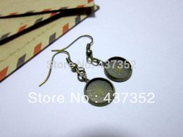 Wholesale 100pcs pairs Antique Bronze mm Cameo Base Cabochon Setting Earring Blank French Earwire Earring Hook Wires