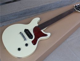 Electric guitar with White Body and Red Tortoise Shell Pickguard and Can be Customized as Request