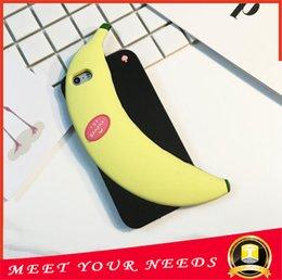 Wholesale New three dimensional Cute Cartoon banana Soft TPU Silicone Rubber cartoon silicone cover Case for iPhone6 plus
