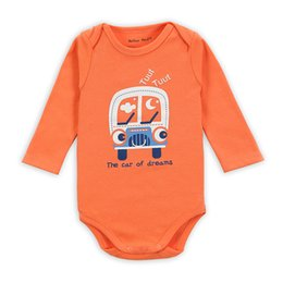 Wholesale The Car of Dreams Orange Long Sleeve Rompers and Jumpers Online M M M M Cotton Romper Baby