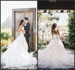 2016 Newest Mermaid Backless Tulle Long Train Beach Wedding Dresses White Lace Applique Sexy Open Back Mermaid Wedding Gowns