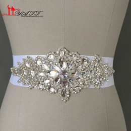 Wholesale Cheap In stock Bridal Sashes Belts Free Size Crystal Shinny Elegant Women Belts Ivory White