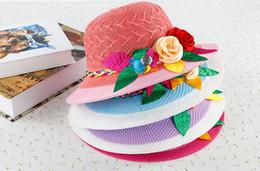 Wholesale Girls Sunbonnet Baby Flower Summer Straw Hat Kids Sun Cap Wide Brim Floppy Hat