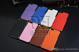 Descuento teléfonos celulares casos de cuero For Iphone 6 Cases Oro Estilo Negocios De Lujo Cubierta trasera de cuero patrón de Cruz para Apple Iphone 4 5 6 Plus Cell Phone