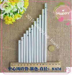 Promotion des tubes métalliques creux 30pcs 14cm diamètre de tube d'argent 8MM DIY Handmade matériau Campanula métal artisanat tube creux en matière d'aluminium
