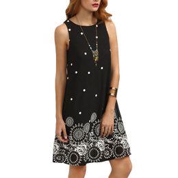 Women Vintage Summer Black Polka Dot Print Straight Dresses Cute Women Sleeveless Round neck mini dress