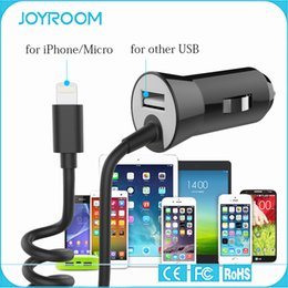 Wholesale JOYROOM USB Car Charger with Spring Cable Phone Accessories for Iphone S Ipad Samsung LG Huawei HTC