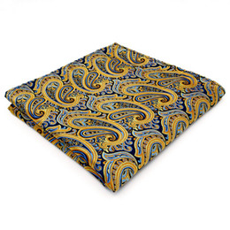 UH13 Paisley Blue Yellow Pink Handkerchiefs Neckties Silk Hanky Pocket Square Silk Big Size Wedding