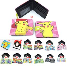 Portefeuille double portefeuille en Ligne-Unisexe Femmes Hommes Enfants Poke Pikachu Elf Ball Portefeuille Cartoon Action Personnages Double Fold PU Purse XMAS Cadeaux SZ-W01