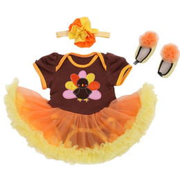 Wholesale Cute Turkey Newborn Baby Girl Thanksgiving Outfit Baby Lace Romper Tutu Dress Body Bebe Overall Children Clothes Infant Kids Suit