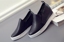 Women Fashion Sneakers Invisible Height Increasing Genuine Leather Elevator Cutout Design Breathable Platform Wedge Shoes Casual Shoes