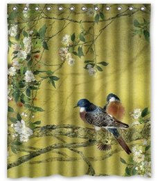 Wholesale Birds Animals Beautiful Scenery Customized Design Bath Animal Waterproof Shower Curtain x180cm Bathroom Curtains