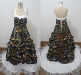 2016 Plus size camo wedding Dresses with Ruffles halter Back corset A Line Satin and tulle Fashion Bridal Gowns vestiods Real Picture