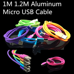 1.2M Aluminum Metal Vertical Stripes Rainbow Charging Cable Micro USB Data Sync charger wire Universal for Samsung S7 S6 edge HTC