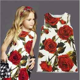 wholesale 2016 summer children's clothing baby kids girls princess party sleeveless vest flower rose dresses kids clothing clothes