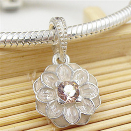 925 Sterling Silver Cream Blooming Dahlia Dangle Charm Bead with Pink Enamel Fits European Pandora Style Jewelry Bracelets & Necklace