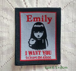 Wholesale Emily The Strange I Want You To Leave Me Alone Sew On Patch Shirt Trousers Vest Coat Skirt Bag Kids Gift Baby Decoration